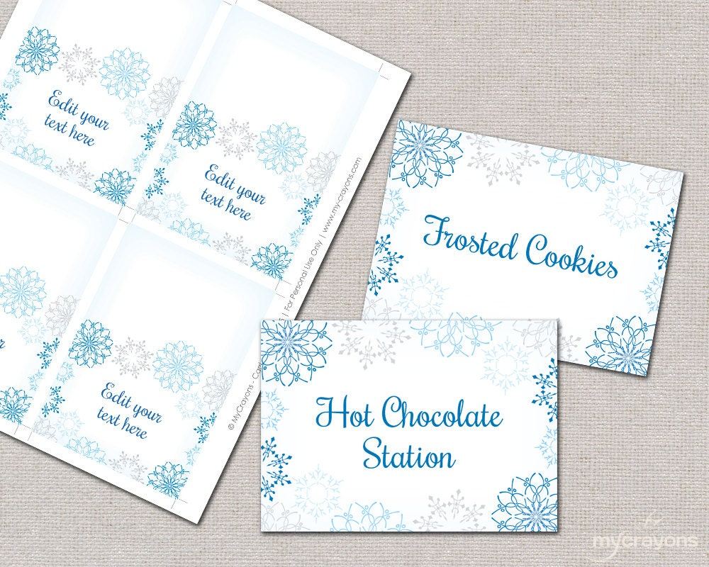 snowflake place cards food tent cards diy by
