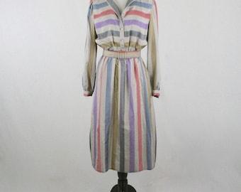 1980s Candy Striped Secretary Dress by Pedestal