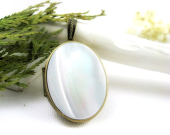 Solid Perfume Locket. Mother of Pearl Oval Locket Necklace. Natural Solid Perfume Jewelry. Antique Brass & Gemstone Perfume Pendant.