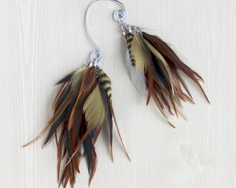Hazel Natural Feather Ear Wrap / Cuff in Silver ONE OF A KIND