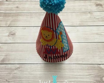Circus Lion Theme First Birthday Hat Personalized