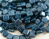 CzechMates Tile Bead - Black Picasso (1107) - 2 hole Czech Glass Tile Beads - 6mm - Qty. 25