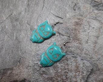 Turquoise Owl Earrings - Dangle Owl Earrings - Handmade Wisdom Earrings