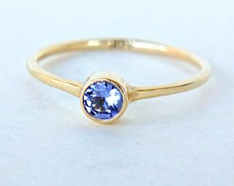 Tanzanite Gold Ring 14k Gold Natural Tanzanite Yellow Gold Ring Tanzanite Engagement Ring Alternative Engagement Ring December Birthstone