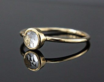 White Topaz Ring 14k Yellow Gold Rose Cut White Topaz Gold Ring Made in Your Size Alternative Engagement Ring White Topaz Engagement Ring