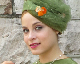 1950s 1960s Green Turban Toque Hat with Tulle, Sparkles, and Flowers! - Marcelle Originals