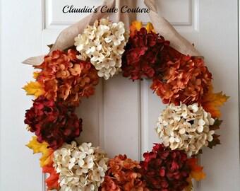 Fall Door Wreaths,Front Door Wreaths,Wreath for Fall,Monogram Wreath,Hydrangea  Wreaths,Fall wreaths for Front Door, Outdoor Wreaths