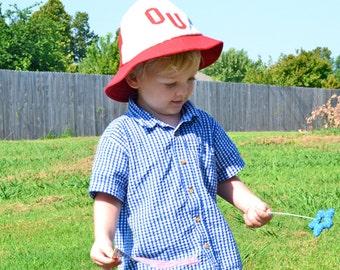 1970s RARE OU Baby Bucket Hat Vintage University of Oklahoma Boomer Sooner Fisherman Style Children's Retro Football Fan Toddler Boy Fashion