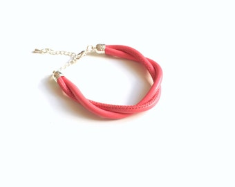 Adjustable leather bracelet: coral pink bracelet (customizable size available - adults and children)