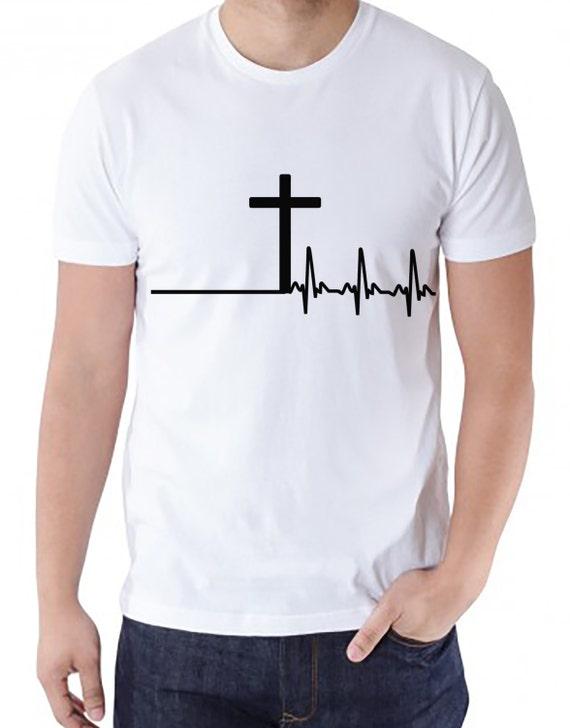 the cross heartbeat design men 39 s white tee men 39 s. Black Bedroom Furniture Sets. Home Design Ideas