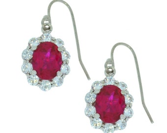 Ruby & Zirconia Oval Dangle Earrings .925 Sterling Silver