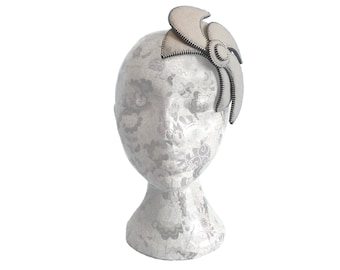 Beige & Silver Fascinator - Zip and Felt
