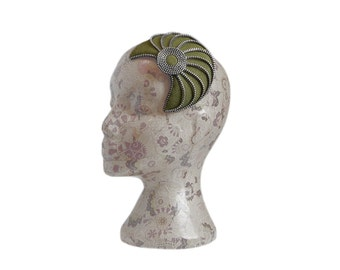 Olive Green & Silver 20's style Zip and Felt Fascinator