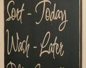 Laundry Schedule, Laundry Room Decor, Laundry Sign, Laundry Room Sign, Distressed Wood Signs, Distressed Wall Decor - Laundry Schedule 12x24