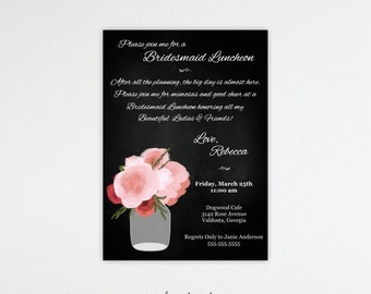 Bridesmaids Luncheon, Bridal Brunch, Bridesmaids' Lunch, Tea Party, Customized, Printable, Digital, BW11004