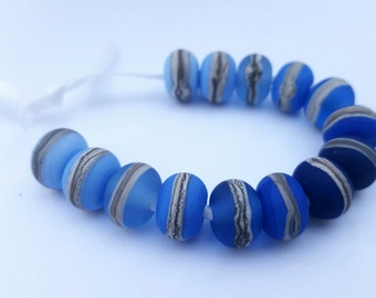 SEA SURF bead set - Lampwork glass beads, Jewelry, Jewellery, Blue, Silver glass, Etched Beads