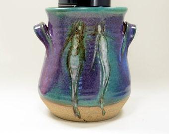 Wine Cooler, utensil holder with two people, Green Purple Wine Coaster, Flower Pot, Silverware Caddy,  Purple green Glaze