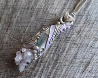 SHIPPING INCLUDED Bicolor Tourmaline Rose Quartz  Pendant