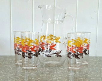 Pitcher and Glasses set Autumn Leaves