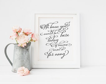 """INSTANT DOWNLOAD... We Know You Would Be Here Today Sign 8x10"""" DIY Wedding Poster Printable"""