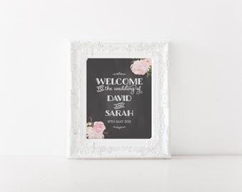 "Peony Flower Chalkboard Wedding Welcome Sign 18x24"" DIY Wedding Signage"