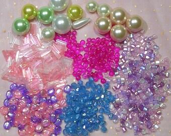Kawaii Bead Lot, Fairy Kei Beads, Decora Beads, Kawaii Bead Destash Lot