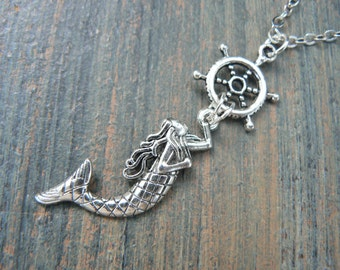 mermaid necklace anchor necklace  siren necklace nautical necklace beach earrings belly dancer gypsy hippie boho hipster style