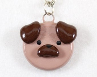 Cute Pug Necklace - Polymer Clay Pug Necklace - Dog Jewelry - Polymer Clay Jewelry - Cute Dog Necklace - Pug Jewelry - Dog Lover