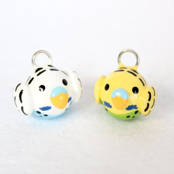 Cute Parakeet Charm - Handcrafted Polymer Clay Charm - Charm for Charm Bracelets, Earrings, Cell Phone Charm