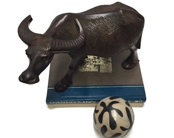 Large Carved Water Buffalo Statue Chinese Oxen Display Bull Bear Decor Zodiac Symbol Asian Patience & Strength Feng Shui Far East Cowboy