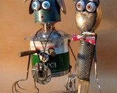 """Recycling RUSTY  ROBOT SCULPTURE -"""" Madonna with Grater man """"- assemblage art,metal sculpture,fantasy art sculpture,reused sculpture"""