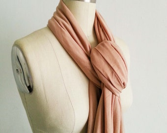 Eco Friendly Infinity Women Scarf Camel Jersey Knit Light Brown