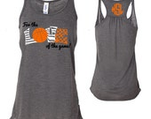 Basketball Monogram Racerback Tank, For the Love of the Game Basketball Monogram, Personalized Basketball Tank Top