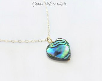 Tiny Heart Necklace - Abalone Necklace - Small Heart Necklace - Paua Shell Necklace - Abalone Shell Beach Jewlelry Gold or Silver