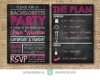 Bachelorette Party Invitation- Hen Party Invite-Unique Invite- Chalkboard Invite- Digital Invitation- Hen Party Invite- Printable File
