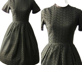 Vintage 1950 Black Dress / Vintage 1950s Party Dress / Lace Dress / Full Skirt