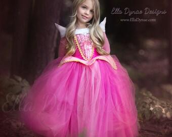 Sleeping Beauty Aurora Costume - Pink Blue Dress Maleficent Disney Movie