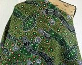 Australian Aboriginal Print Fabric--Dancing Spirit Green--Aboriginal Design--Cotton Quilt Fabric--Australian Fabric by the HALF YARD
