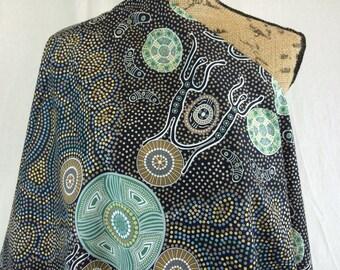 Australian Aboriginal Print Fabric--Spirit People in Charcoal--Aboriginal Design--Cotton Quilt Fabric--Australian Fabric by the HALF YARD