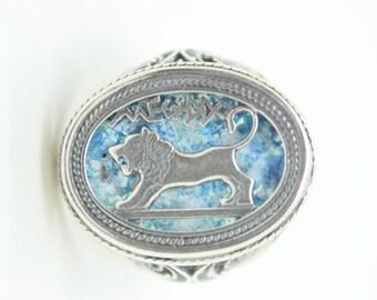 Beautiful 925 Sterling Silver Ring, Ancient Roman Glass Ring, Custom Size Ring, Lion Of Judah, Roman Glass Jewelry, OOAK