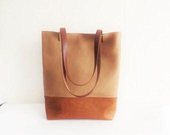 Leather tote bag, large tote bag, vegan leather tote, cognac brown tote bagCaramel brown tote bag, Toffee tote bag,  school bag, book bag