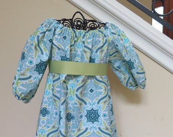 Cool Blue Toddler Peasant Dress - free shipping