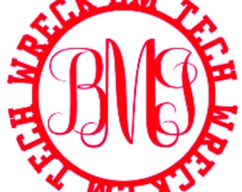 Texas Tech Wreck'em Cursive Monogram Decal