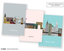 London, Paris and New York City Prints in our Cities Series INSTANT DOWNLOAD gallery wall art for the home