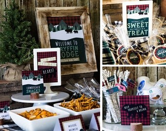 Lumberjack Table Signs, Do Not Feed The Bears Sign, Woodland Birthday Party, Rustic Party Sign, Smores Favor Tags, INSTANT DOWNLOAD, #46