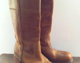 Vintage Vagabond boots Genuine leather boots Camel brown genuine leather boots Made in Romania