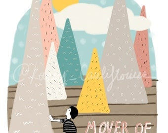 SALE-Mountain Mover Illustrated Art Print
