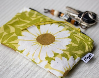 Retro change wallet, zipper coin purse, green accessories bag small, change pouch
