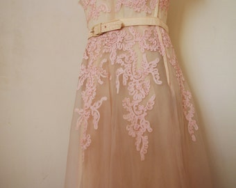 1950s 50s blush silk chiffon dress