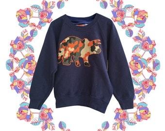 Childrens Triceratops Dinosaur jumper in Navy